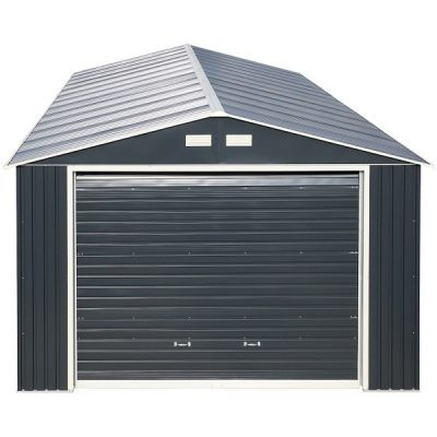12 x 38 Grey Metal Garage_1