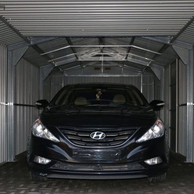 12 x 38 Grey Metal Garage_5