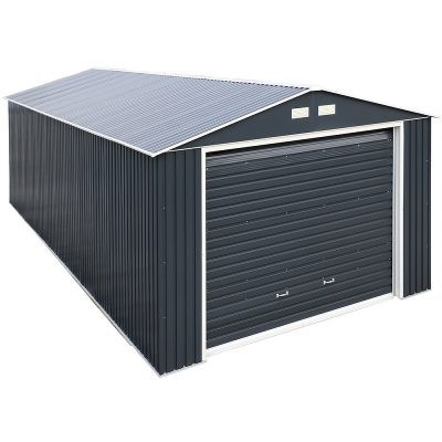 12 x 26 Grey Metal Garage_3