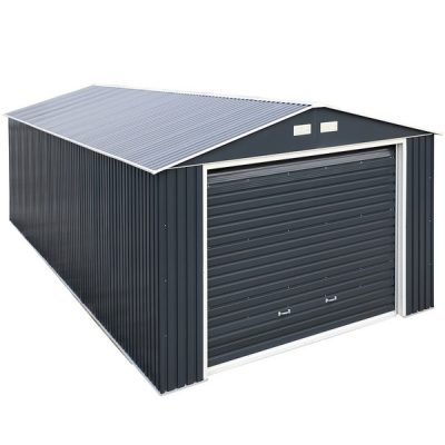 12 x 38 Grey Metal Garage_2