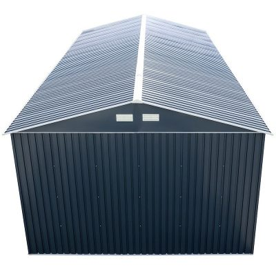 12 x 26 Grey Metal Garage_5