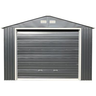 12 x 32 Grey Metal Garage_1