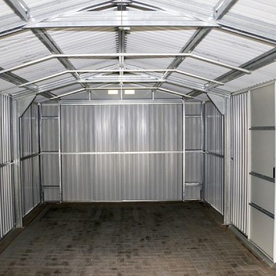 12 x 26 Grey Metal Garage_8