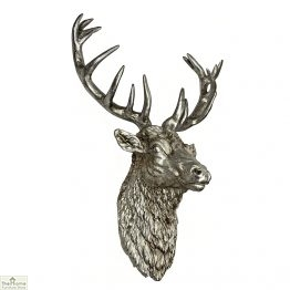 Antiqued Silver Stag Head Wall Ornament