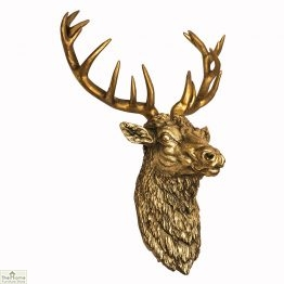 Antiqued Gold Stag Head Wall Ornament
