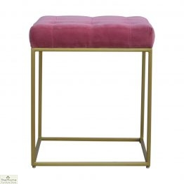 Gold Base Pink Velvet Footstool