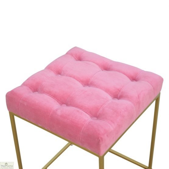 Gold Base Pink Velvet Footstool_3
