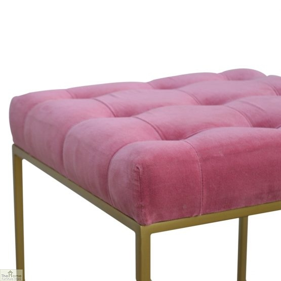 Gold Base Pink Velvet Footstool_6