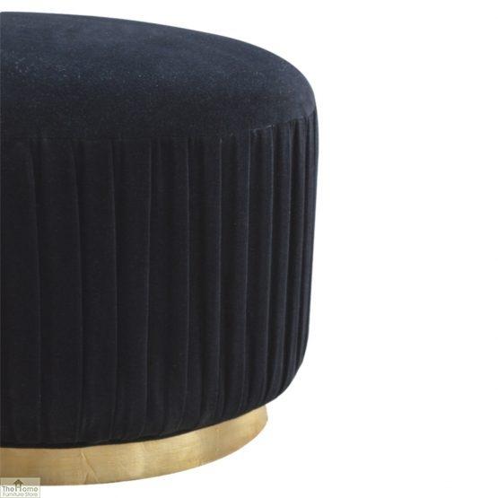 Black Pleated Velvet Footstool_3