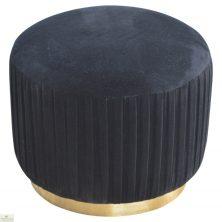 Black Pleated Velvet Footstool