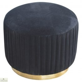Black Pleated Velvet Footstool_1