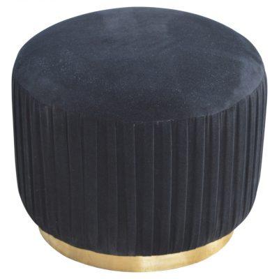 Black Pleated Velvet Footstool_1