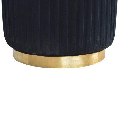 Black Pleated Velvet Footstool_5