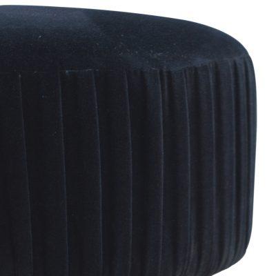 Black Pleated Velvet Footstool_2