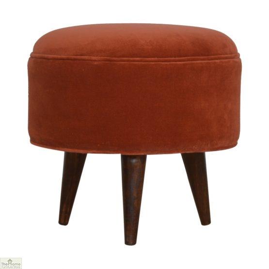 Nordic Style Velvet Upholstered Stool_5