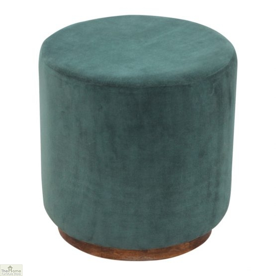 Emerald Green Velvet Footstool_1