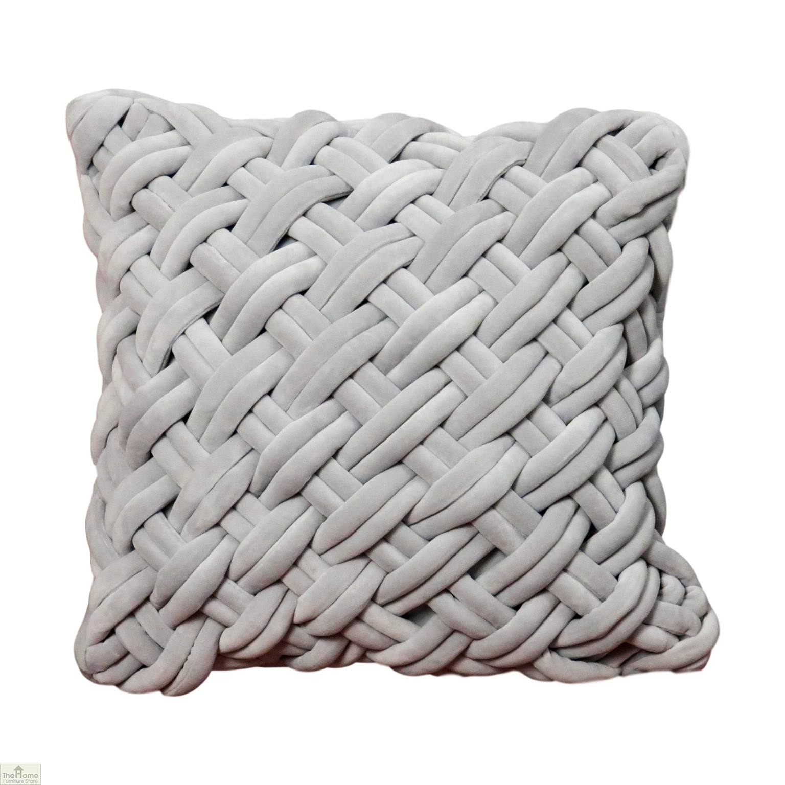Handknotted Grey Velvet Cushion Cover