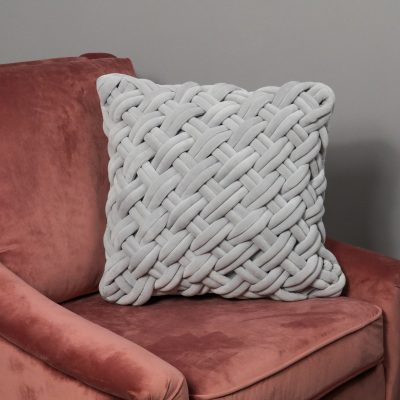 Handknotted Grey Velvet Cushion Cover_1