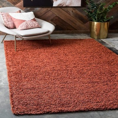 Terracotta Plain Shaggy Rug _7