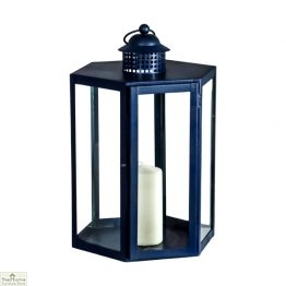 Blue Candle Holder Glass Lantern