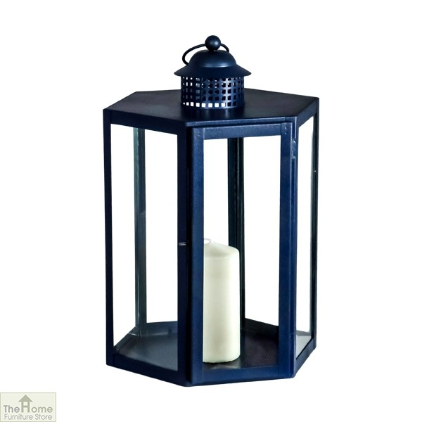 Blue Candle Holder Glass Lantern