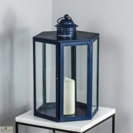 Blue Candle Holder Glass Lantern_1