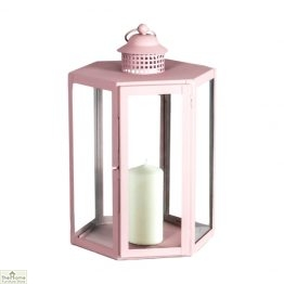 Pink Candle Holder Glass Lantern