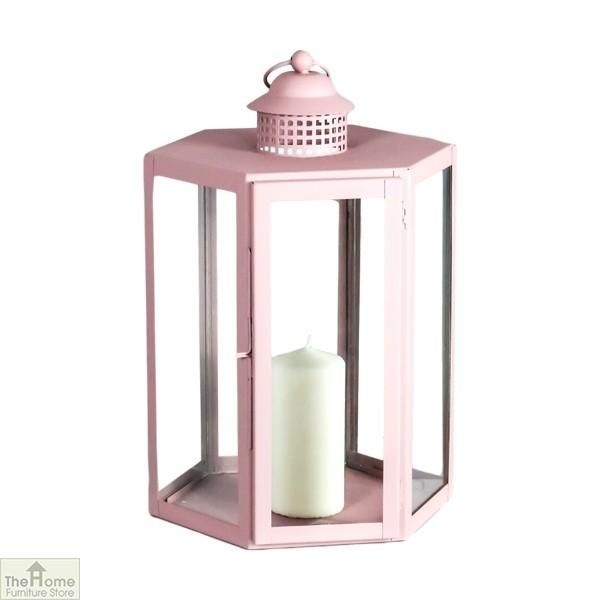 Pink Candle Holder Glass Lantern