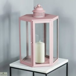 Pink Candle Holder Glass Lantern_1