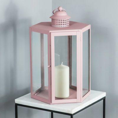 Pink Candle Holder Glass Lantern_1