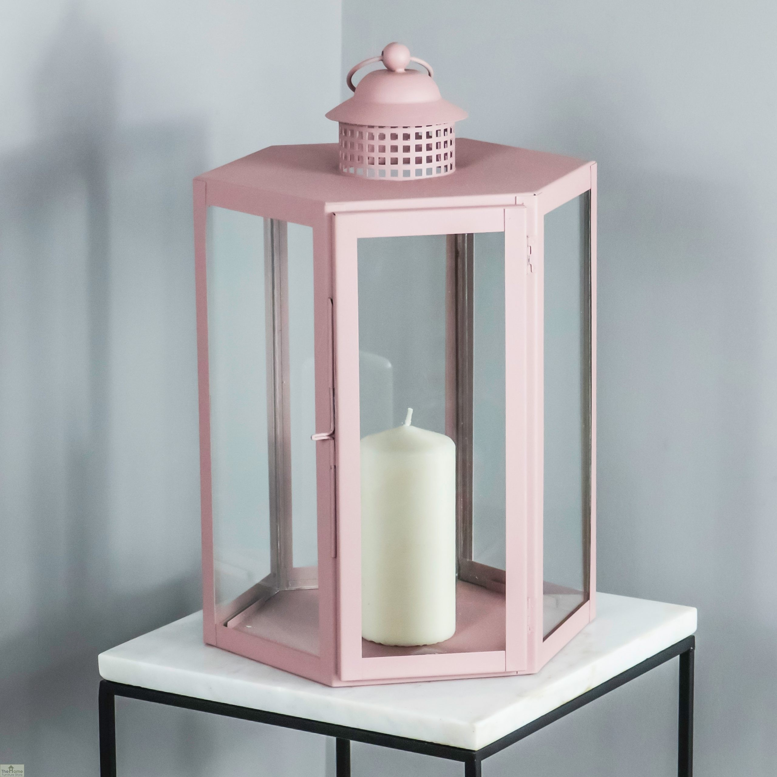 Pink Candle Holder Glass Lantern   Candle Lighting HFS