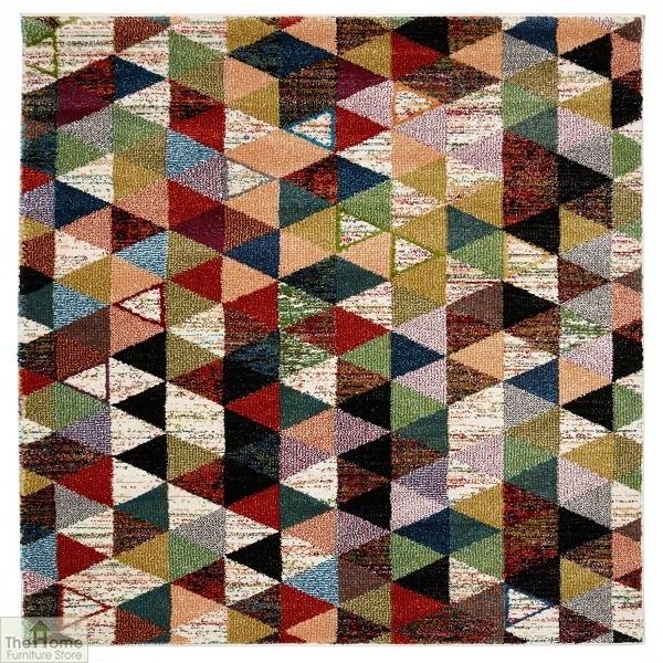 Multicoloured Geometric Design Rug