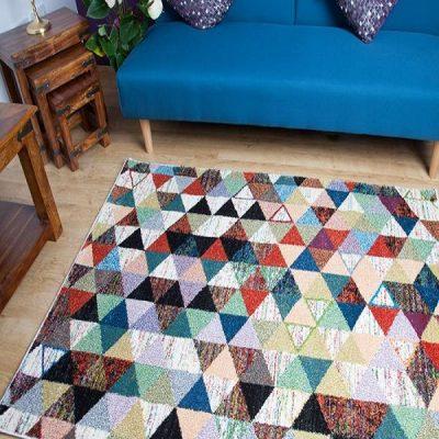 Multicoloured Geometric Design Rug_7
