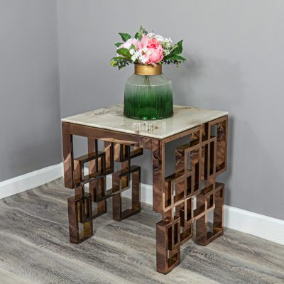 Marble Glass Rose Gold Side Table_2