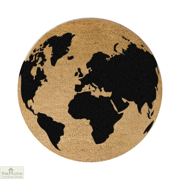 Black Globe Design Circle Doormat