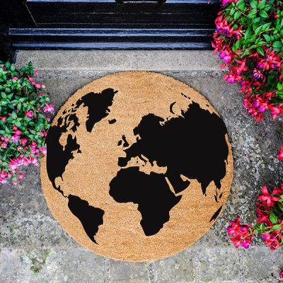 Black Globe Design Circle Doormat_1