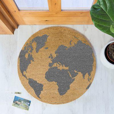 Grey Globe Design Circle Doormat_1
