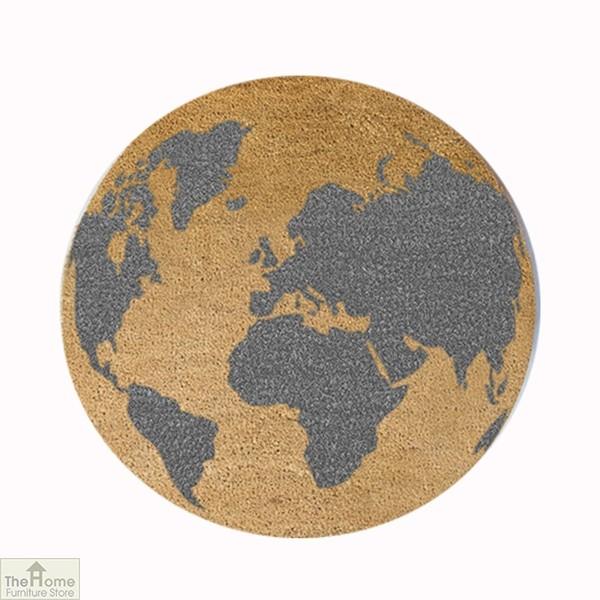 Grey Globe Design Circle Doormat