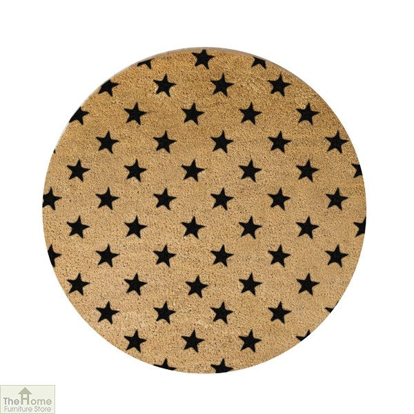 Black Star Design Circle Doormat