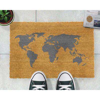 Grey World Map Doormat_2