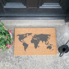 Grey World Map Doormat