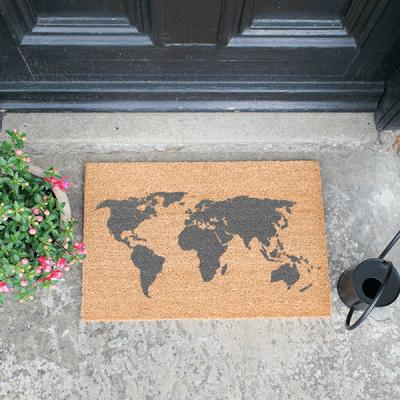 Grey World Map Doormat_1