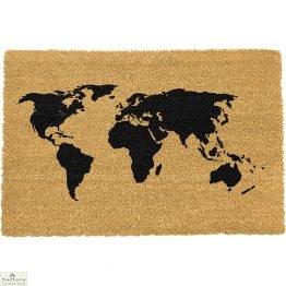 Black World Map Doormat