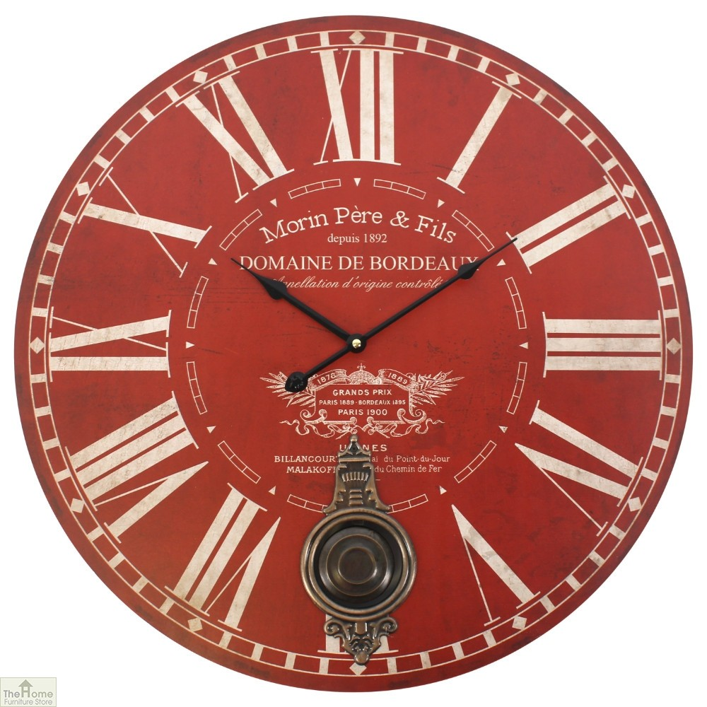 Vintage Red Wall Clock With Pendulum