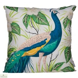 Peacock Floral Design Square Cushion