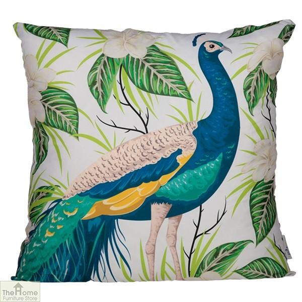 Peacock Floral Design Square Cushion