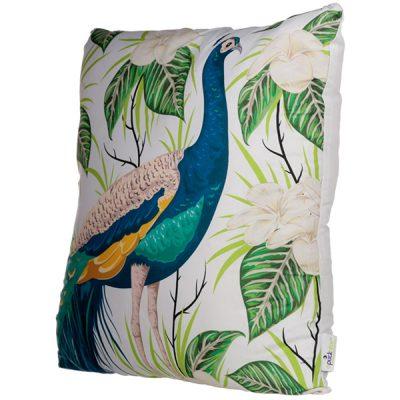 Peacock Floral Design Square Cushion_3