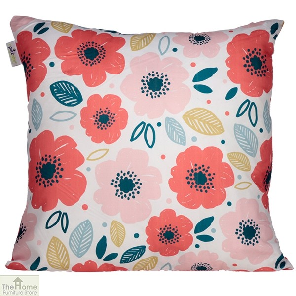 Poppy Flower Design Square Cushion