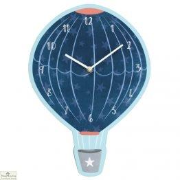 Blue Hot Air Balloon Wall Clock