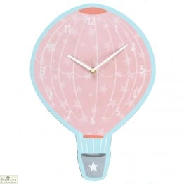 Pink Hot Air Balloon Wall Clock